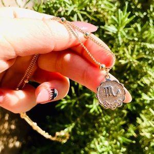 Zodiac Scorpio gold chain pendant necklace New
